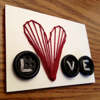 LOVE - Button stitched ACEO
