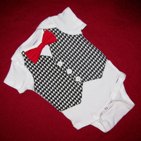 Baby Boy Houndstooth Tuxedo Vest LONG Sleeve Onesuit with Red Bow Tie - READY to SHIP sizes - Perfect Christmas Outfit