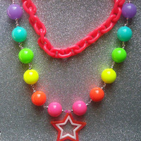 Magical Rainbow Star Princess Necklace - One of a kind from On Secret Wings