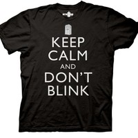 Doctor Who Keep Calm And Don't Blink T-shirt (Small, Royal Blue)