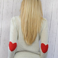 Heart Elbow Patch Sweater I Wear My Heart on My Sleeve Sweater with RED Felt Heart Patches MEDIUM Valentine&#x27;s Day Clothing