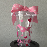 16oz Personalized PINK Tumbler with Hearts