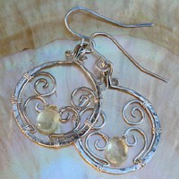 Artisan Wire Wrapped Prehnite Earrings Sterling Silver, Rare Gemstone