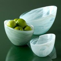 Shiraleah Home Decor: alabaster slanted bowls - glacier