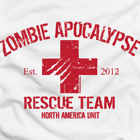 Zombie Apocalypse 2012 Rescue Team - funny cool humor tee t-shirt NEW