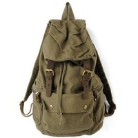 KHAKI Rucksack-Styled Thick Canvas Backpack Great for School and Camping,Genuine Leather Straps