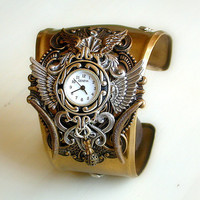 Time is Flying Gothic Steampunk Cuff Watch in by LeBoudoirNoir