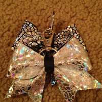 Silver on white Avatar Cheer Bow Keychain