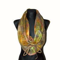 Felted scarf doublesided unique earth colors by ISfelteddesign