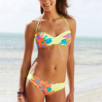 Heat Tropical Twist Bandeau &amp; Heat Tropical Lettuce Edge Bottom