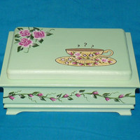 Elegant Tea Box Wood Tea Chest Organizer Hand Painted Mint Green Personalized Custom Victorian Tea Cup Roses