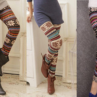 Funky retro Women&#x27;s Soft Knitted Multi-Colored Stripe Snowflakes Leggings Tights | eBay