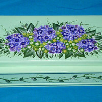 Elegant Tea Box Wood Tea Chest Organizer Hand Painted Mint Green Personalized Custom Victorian Tea Jewelry Box Hydrangeas