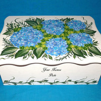 Decorative Wood Wedding Card Box Wedding Keepsake Box, Wooden Box Hydrangeas Wedding Gift Card Box Personalized Custom Painting