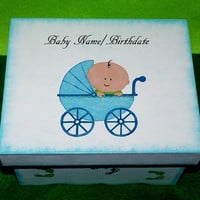 Hand Painted Baby Boy's Keepsake BOX Blue Decorative Wood Personalized Memory Box Baby Carriage