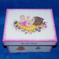 Hand Painted Baby Girl's Keepsake BOX Pink Decorative Wood Personalized Memory Box