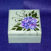 Elegant Ring Box Proposal Ring Box Wedding Ring Box Hydrangeas Ring Bearer Pillow Box Decorative Wood Painted