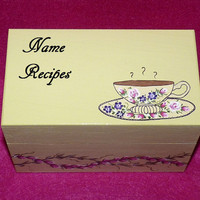 Recipe Box, Wood Recipe Card Box, Coffee, Decorative Recipe Box, Painted, Victorian, Personalized Recipe Box, Vintage Style, Wood Box, Tea