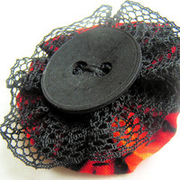 brooch black lace red flames hand sewned for by Friesenliese