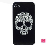Unique Black Skull Style Hard Plastic Case for iPhone 4 4S from 1Point99.com
