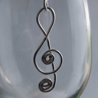 Treble Clef with Spirals Pendant by KitchenWiring on Etsy