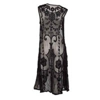 Unknown - 1920's Black Embroidered and Beaded Tunic on Fine Net