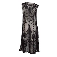 Unknown - 1920&#x27;s Black Embroidered and Beaded Tunic on Fine Net
