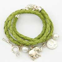 FREE SHIPPING Green Multi-element woven Multilayer Baby Elephant Pendant Bracelet 11053035-490