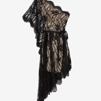 Asymmetrical Sleeve Lace Dress: Black-Evening-Dresses-Clothing- IntermixOnline.com