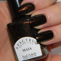 Black Nail Polish with Copper Sparkle MAIA by SpectrumCosmetic