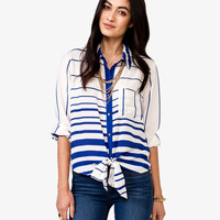 Self-Tie Striped Georgette Shirt