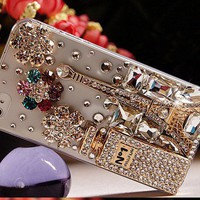 Unique Shiny Rhinestone HardmadeTransparent Cover Case For Iphone 4/4s