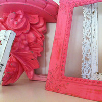 Nursery Decor, Vintage Frames, Baby Room Decor, Pink Decor, Upcycled, Painted Frames, Ornate Wall Shelf Ledge
