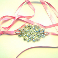 Rhinestone Headband Silver Pink Ribbon by SomethingColorful