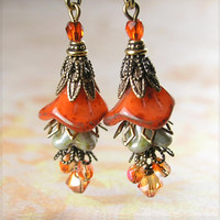 Mossy Orange Earrings Czech Glass Bell Flower Earrings Weathered Opal Orange Earrings Antique Gold Brass