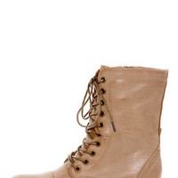 Madden Girl Gamer Natural Paris Taupe Lace-Up Combat Boots