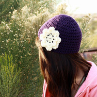 Purple Crochet Hat with Cream Flower