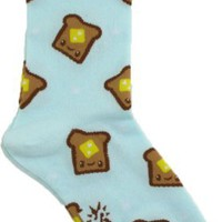 Sock It To Me Toast Light Blue Women's Crew Socks