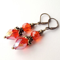 Beaded Earrings Red Orange Faceted Victorian Inspired by silverthaw