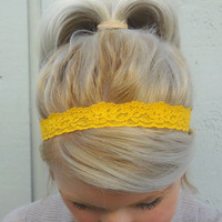 Goldenrod yellow stretch lace headband - thin headband - romantic - classic - feminine