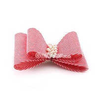 Fashion Red&amp;White Stripe Pearl Hair Barrette at Online Cheap Fashion Jewelry Store Gofavor