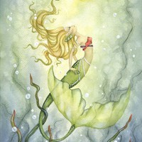 Fantasy Fine Art Print - 8.5x11 - Emerging from the Deep - Whimsical Mermaid Art