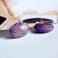 Vintage Gold Purple Plastic Beads600703 / 20Pcs by EtsyPendants