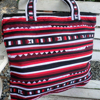 Lisu Red Tribal AppliqueTote Bag