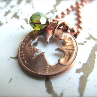 Stamped Penny from Heaven Necklace - The Clover