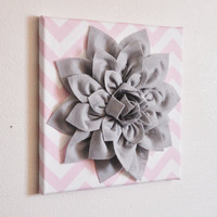 Flower Wall Decor -Gray Dahlia on Light Pink and White Chevron 12 x12&quot; Canvas Wall Art- Baby Nursery Wall Decor-