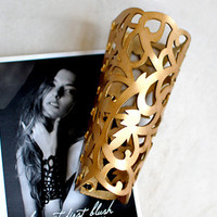 Leather Cuff Bracelet Golden Cuff