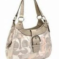 Coach Linen Optic Signature Lynn Hobo Handbag 19193 Multi Pink Grey