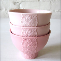 Set of 3 Pink Pink Pink Porcelain Lace Bowls by Hideminy on Etsy
