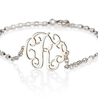 Monogram Bracelet Sterling Silver Personalized Name Necklace